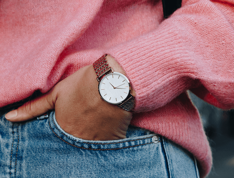 Zegarek damski Dressed biały skórzany pasek